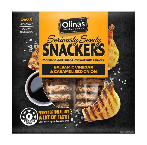 Olina's Bakehouse Seriously Seedy Snackers Balsamic Vinegar & Caramelised Onion Front 2D