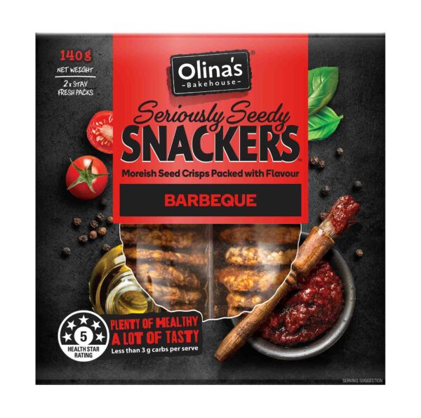 Olina's Bakehouse Seriously Seedy Snackers Barbeque Front 2D